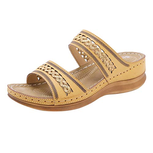 TOPEREUR Pantoffeln Damen Pantoletten Keilabsatz Schuhe Bequeme Hausschuhe Sommer Aushöhlen Sandalen Sandaletten Casual Slingback Slippers für Indoor Outdoor