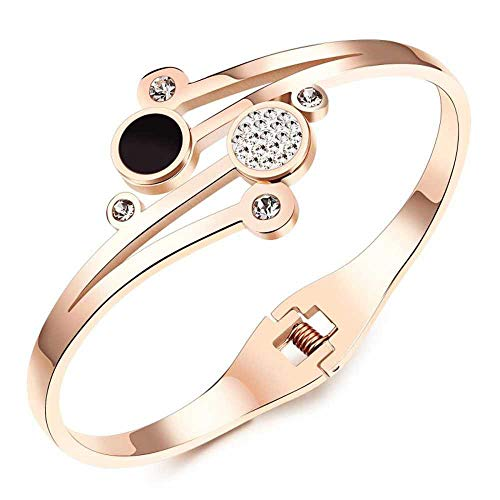 Fashion Inlaid Rhinestone Bracelet Titanium Steel Rose Gold Plated Ladies Bracelet (17cm in length)