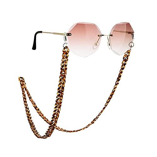AMOZ Cadena de Gafas Antideslizante Gafas de Sol Acrílicas Cordón Lentes de Lectura Soporte de Cable Correa para el Cuello para Mujer Turquesa,Color de Leopardo