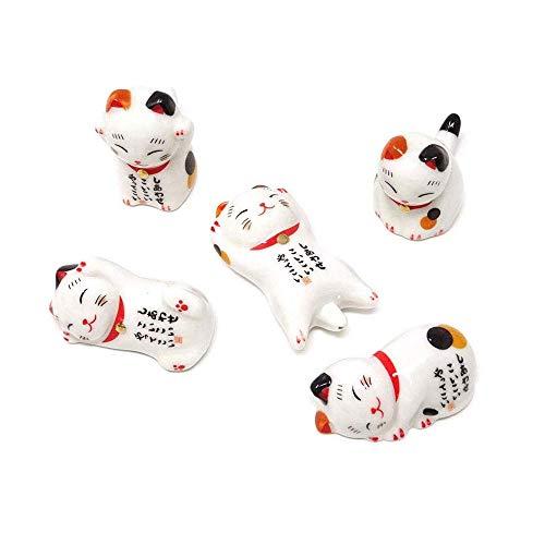 EOPER - Soporte para palillos de cerámica con forma de gato de la suerte, soporte para cuchara, cuchillo, tenedor, palillos, soporte para cocina, vajilla para restaurante, fiesta en casa o festival