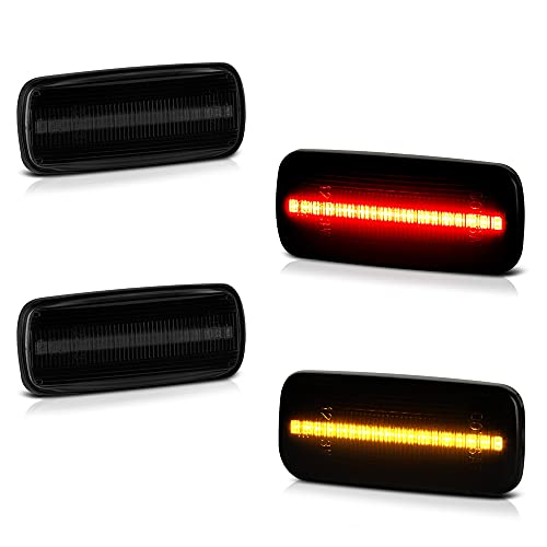 [4-Pieces] For 2010-2018 RAM 3500 Dually Pickup Smoked Lens Red + Amber LED Strip Rear Fender Light Side Marker Lamp Replacement, Driver & Passenger Side