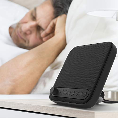 Pure Enrichment Wave Premium Sleep Therapy Sound Machine - Patented Design - New & Improved Seamless Looping with 6 Soothing All-Natural Sounds, Auto-Off Timer & Bonus USB Output Charger (Black)