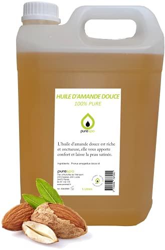 Aceite de almendra suave prensado en frío, 100% puro, purespa by purenail, jerricán de 5 litros, cuidado del cuerpo y de la piel.