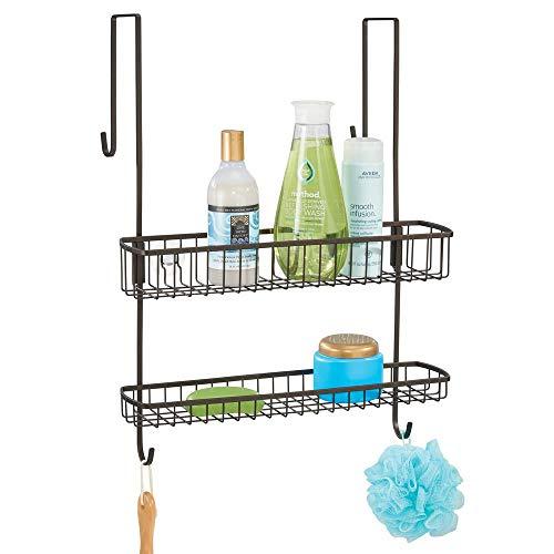 mDesign Duschkorb zum Hängen über die Duschtür – einfache Installation der Duschablage ohne Bohren – Duschregal aus Metall mit zwei Ebenen und Haken für ihr Duschzubehör - bronze