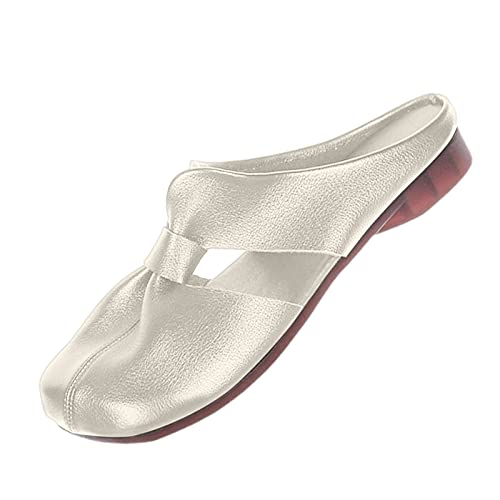 SGAOGEW Pantofole Donna Estive Comode Sandali Donna Eleganti Tacco Medio Sandali Bassi Donna Pelle Sandali Donna Argento Tacco - Eu,