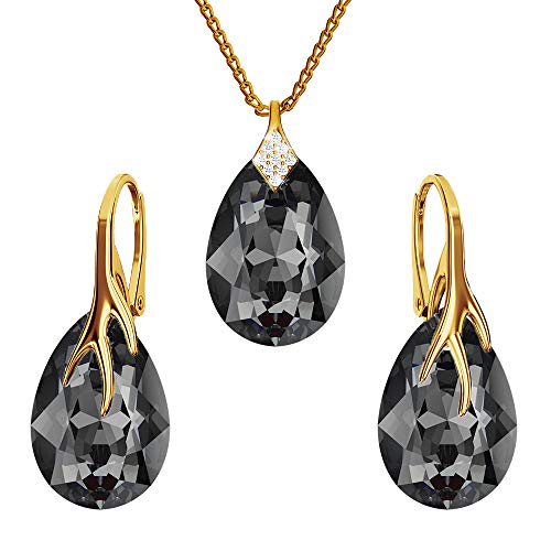 Gold-plated 24K 925-sterling silver jewelry set with crystals from Swarovski - Claw pear - Many colors - Earrings Necklace with pendant - Jewelry for women with a gift box (Silver Night)