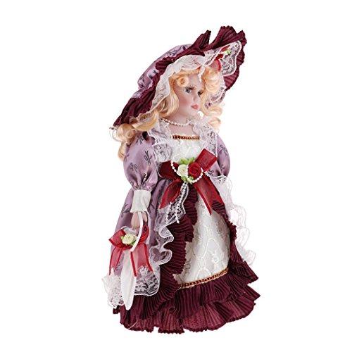 MagiDeal Figure Gente Bambola Porcellana Annata con Vestiti Abbigliamenti Indumenti per Museo - Rosso Vintage