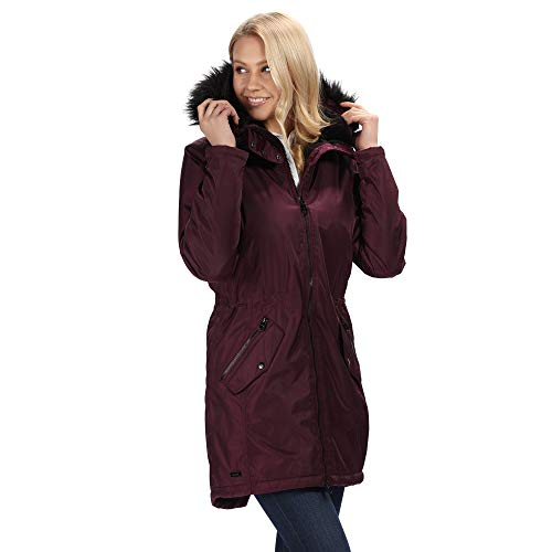 Regatta Damen Lexia Waterproof & Breathable Thermo-Guard Insulated Faux Fur Hooded Outdoor Winter Parka Jacket Jacken wasserdicht isoliert, Purpurfarben, 2XL (20)