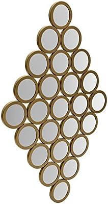 Flourish Concepts Iron Circle Pattern Decorative Mirror (Golden, 99 * 63.5)