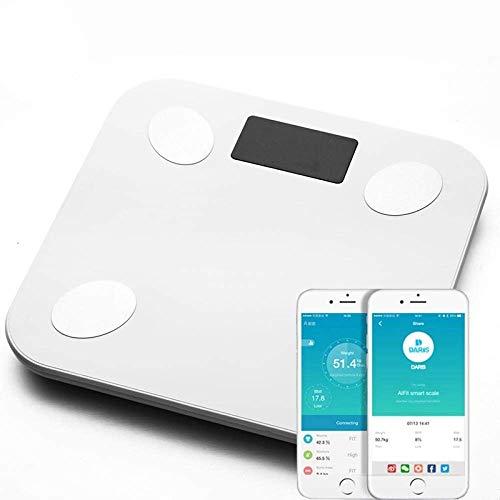 LKK-KK Escala de Peso Corporal Escala Bluetooth, Wireless Digital Inteligente baño Escala del Peso Corporal del Piso con el teléfono Inteligente de Aplicaciones, 180Kg / 400lb Blanca