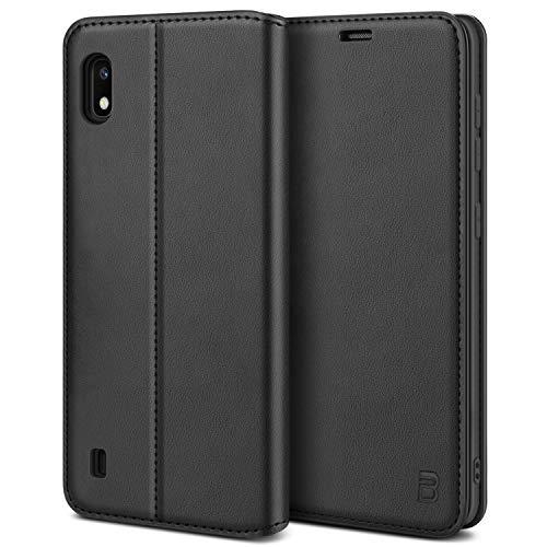 BEZ Handyhülle für Samsung Galaxy A10 Hülle, Premium Tasche Kompatibel für Samsung A10, Schutzhüllen aus Klappetui mit Kreditkartenhaltern, Ständer, Magnetverschluss, Schwarz