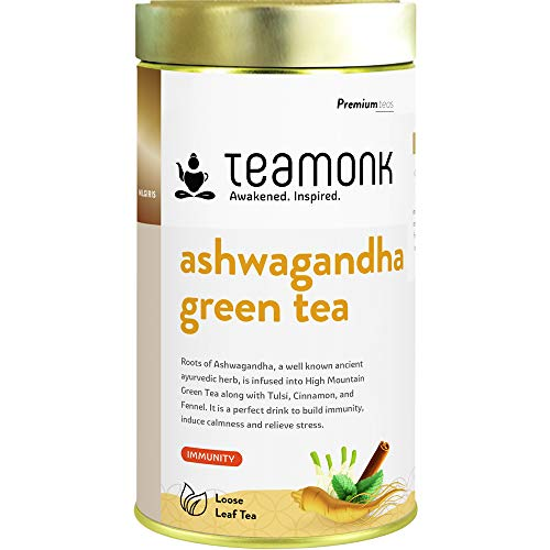 Teamonk Ashwagandha Tea for Immunity, Stress & Anxiety Relief | Green Tea Leaves with Ashwagandha, Tulsi, Cinnamon and Fennel 7 oz