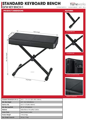 Gator Frameworks Adjustable X-Frame Style Keyboard Bench; (GFW-KEY-BNCH-1) , Black