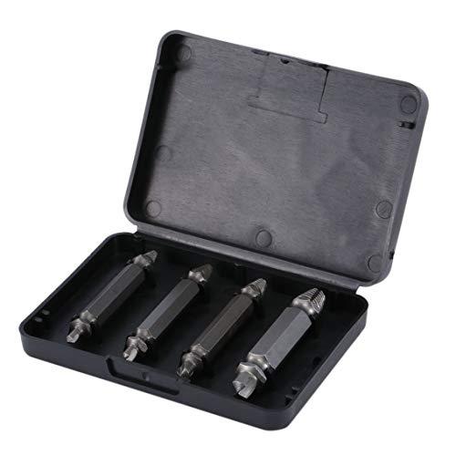 4pcs Extractor de tornillos Brocas Guía de extracción Juego de tornillos rotos y dañados Tornillo Perno de madera Kit de herramienta de extracción de pernos de tornillo 1/2/3/4# - Negro