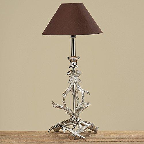 Immo Tischlampe Geweih 48cm Höhe mit braunem Schirm