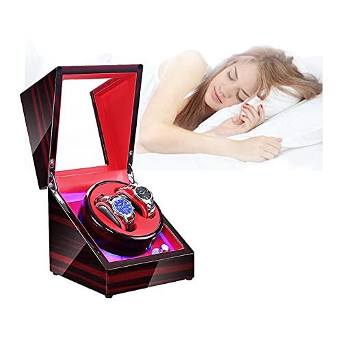Hcyx Enrollador de Reloj Doble automático, Caja de visualización de rotación automática con Motor silencioso, Modo 5, LED Incorporado Iluminado, Funciona con batería o Adaptador de CA(Color:D)