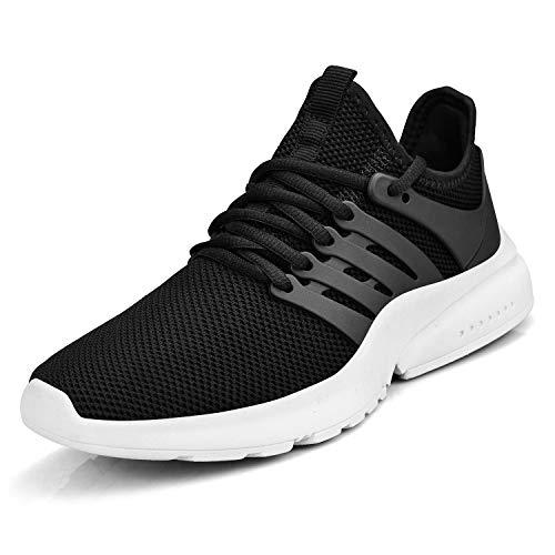 ZOCAVIA Damen Herren Schuhe Turnschuhe Ultraleichte Laufschuhe Atmungsaktive Outdoor Sportschuhe Wanderschuhe Schwarz/Weiß 40