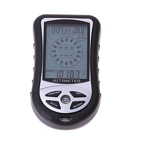 Calistouk 8-in-1-Digitalbarometer, multifunktionales Handgerät mit LCD, Höhenmesser, Wettervorhersage, Kompass, Thermometer, Uhr, für Wandern, Camping, Angeln