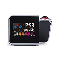 Goldmeet Projection Digital Weather LCD Snooze Alarm Clock Projection Alarm Clock Weather Station Temperature Humidity Monitor Gauge Hygrometer Wireless Indoor Outdoor Thermometer