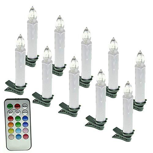 SAILUN 20 Stück RGB Bunt Weinachten LED Weihnachtskerzen mit Fernbedienung Kabellos Dimmbare LED Kerzen Mini Christbaumkerzen Lichterkette für Weihnachtsbaum, Weihnachtsdeko Geburtstags