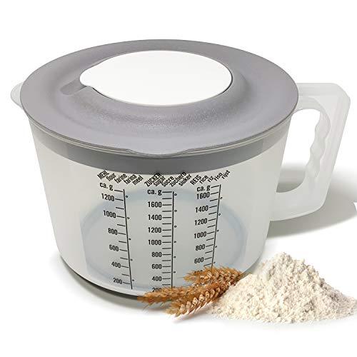 KITCHENLY® Messbecher 2l als Rührschüssel mit Spritzschutzdeckel und toller Funktion als Pürierschüssel mit Deckel I Spülmaschinenfest und perfekt zum Mischen und rühren von Koch-& Backzutaten