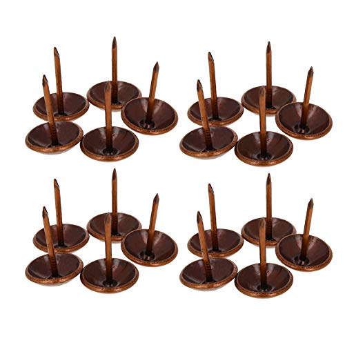 MroMax Polsternägel, 1,4 cm Kopfdurchmesser, antike runde Daumennadeln für Möbel, Sofa, Kopfteile, rot kupferfarben, 100 Stück