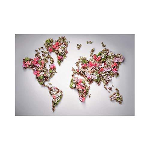 CROSYO 1pc 150x225cm Mapa del Mundo de DIY no Tejido Hecho con Hermosas Flores para la decoración de la Pared de la Oficina en el hogar