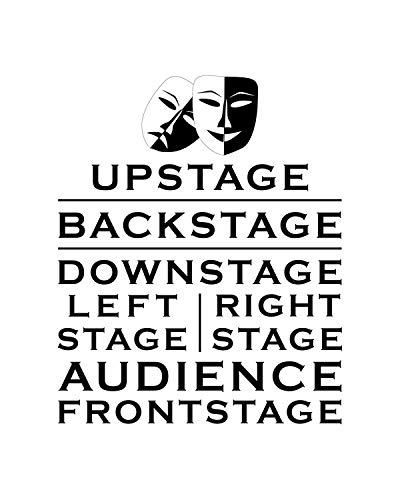 Upstage Backstage Downstage Wall Decor Art Print on a white background - 8x10 unframed theater-themed print - great gift for relatives and friends