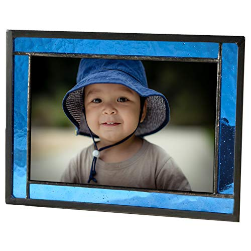 Blue Picture Frame Stained Glass Easel Back 4x6 Photo Display...