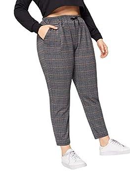 Milumia Women s Plus Size Pants Plaid Elastic Waist Straight Leg Trousers with Pocket Dark Grey Large Plus