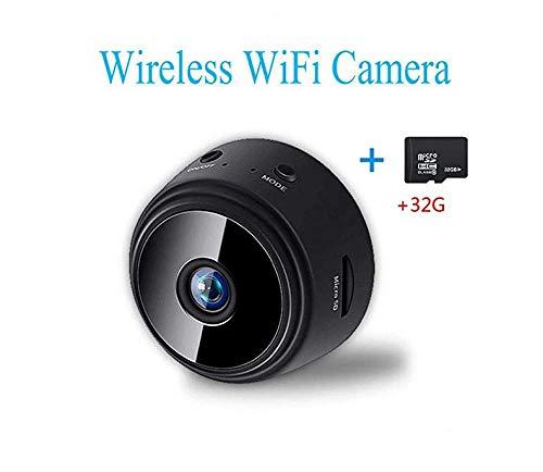 Mini cámara inalámbrica WiFi - Seguridad doméstica HD 1080P Micro DVR - Control Remoto de visión Nocturna (cámara con Tarjeta de 32G TF) (Black, Tarjeta de Memoria Micro Camerara + 32G)