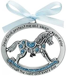 Sweet ROCKING HORSE Crib Medal for Baby BOY with PRAYER Verse PEWTER Finish - CHRISTENING SHOWER GIFT - Baptism KEEPSAKE w/ BLUE RIBBON - INFANT - Newborn