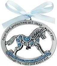 Sweet ROCKING HORSE Crib Medal for Baby BOY with PRAYER Verse PEWTER Finish - CHRISTENING SHOWER GIFT - Baptism KEEPSAKE w/ BLUE RIBBON - INFANT - Newborn