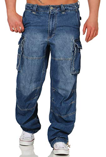 Jet Lag Herren Cargo Jeans Hose Safety Loose-Fit Denim Light Navy L/32