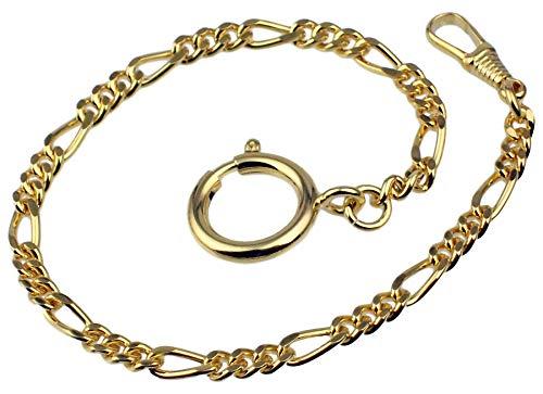 Taschenuhrkette Vergoldet Figaro-Panzer Uhrkette 24cm Taschenuhr Uhr Kette 2935