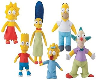 """The Simpsons 9"""" Plush - 6 Pieces Plush Set Includes - Homer, Bart, Lisa, Maggie, Marge, and Krusty"""