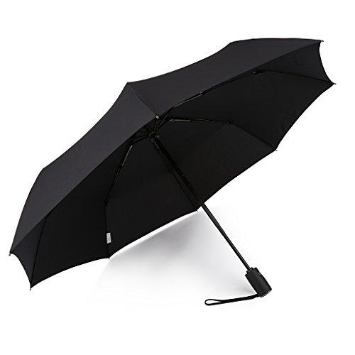 Kobold Business Travel Automatik Öffnen Schließen Leicht Stark Regenschirm Winddicht Und Teflon-Beschichtung (Schwarz)
