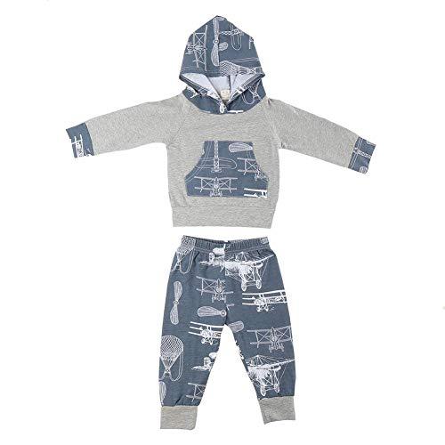 Babykleding set vliegtuig patroon pasgeborenen outfits set lange mouwen met capuchon tops sweatshirt gedrukt broek kleine kinderen kleding set