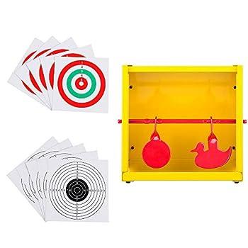 GearOZ BB Trap Target Paper Target and Resetting Metal Silhouettes Shooting Targets for Pellet Gun Airsoft BB Gun Yellow