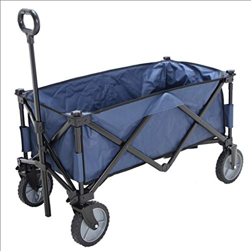 GLJ Outdoor folding wagon Collapsible Wagon Cart, Heavy Duty Outdoor Beach Wagon with Wheels, Home Shopping Trolley, Load-bearing 80kg / 176lbs, 2 Colors (Color : Blue)