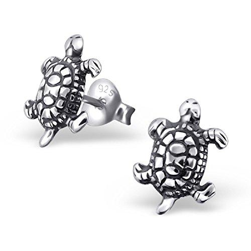 Laimons Mädchen Kids Kinder-Ohrstecker Ohrringe Kinderschmuck Schildkröte Reptil oxidiert glanz aus Sterling Silber 925
