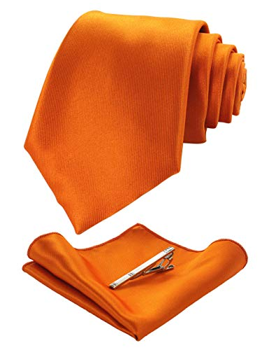 JEMYGINS Orange Krawatten und Einstecktuch Set für Herren seide Krawatte krawattenklammer Seidenkrawatten Hochzeit Schlips(13)