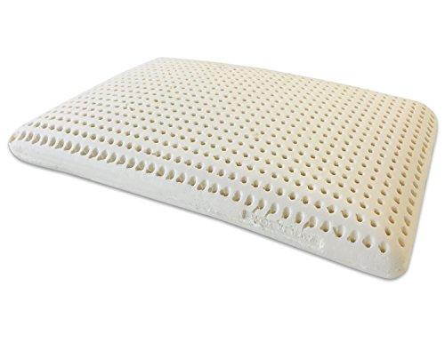 Marcapiuma - Almohada de Látex Natural Modelo Jabón 70x40 Almohada Látex Perforada - Funda 100% Algodón Lavable - Ergonómica Alivia Las tensiones cervicales - 100% Fabricada en Italia