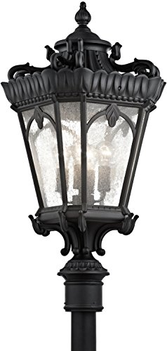 Kichler 9565BKT Tournai Outdoor Post, 4 Light Incandescent 400 Total Watts, Textured Black