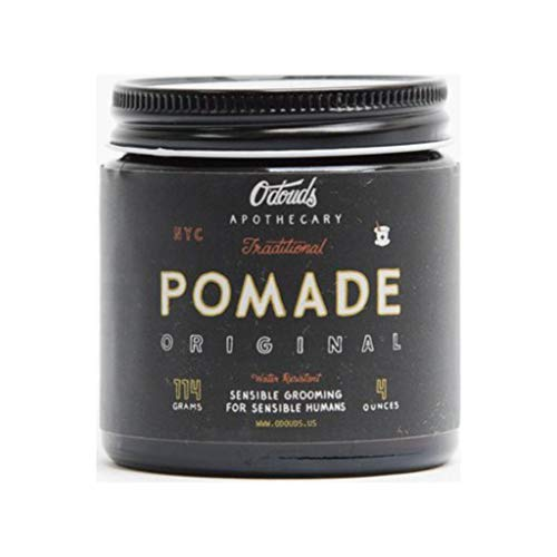 O'Douds All Natural, Handcrafted Traditional Pomade - Oil Based Hair Pomade for Men - Original Hold, High Shine Finish for Classic Slick Back, Side-Part and Pompadour Looks, 4oz