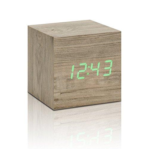Cube Click Clock Ash / Green Led