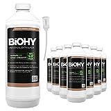 BiOHY Descalcificador universal (9 botellas de 1 litro) + Dosificador | Concentrado para 20 procesos de descalcificación| Compatible con cafeteras, como DELONGHI, PHILIPS (Universal Entkalker)