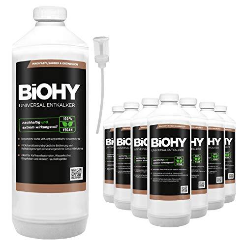 BIOHY universele vloeibare ontkalker 9 x 1 liter flessen + doseerder, concentraat voor ca. 20 ontkalkingsprocessen | voor alle koffieautomaten, espresso- en koffiezetapparaten, zoals Delonghi, Saeco, Philips.