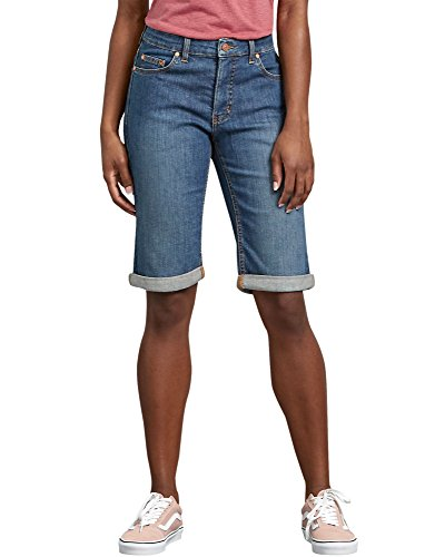 Dickies Women's Perfect Shape Denim Bermuda Shorts, Stonewashed Indigo Blue, 8