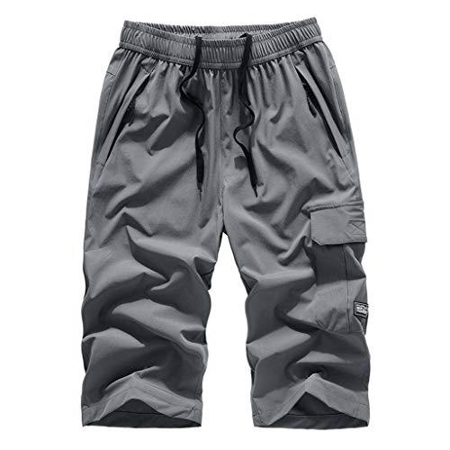 Riou Herren Strand Shorts Männer Sommer Cargo Shorts 3/4 Bermuda Kurz Hose Große Größen Locker Casual Basic Stretch Beach Sporthose Sweatshorts